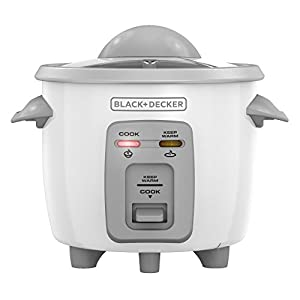 Black + Decker RC3303 1.5-Cup Uncooked resulting in 3-Cup Cooked Compact Rice Cooker, White