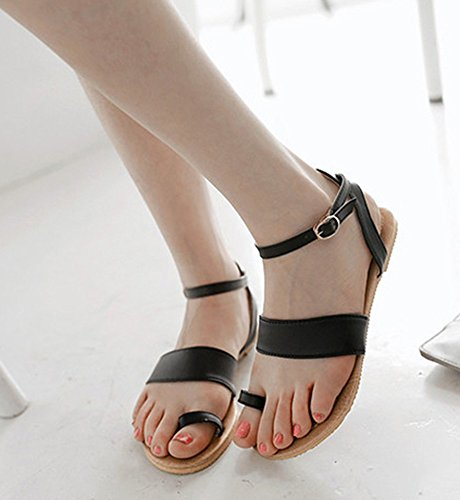 Aisun Womens Casual Antiskid Hollow out Toe Ring Buckle Flat Beach Sandals Shoes With Ankle Straps Black 1IhbeGAmm