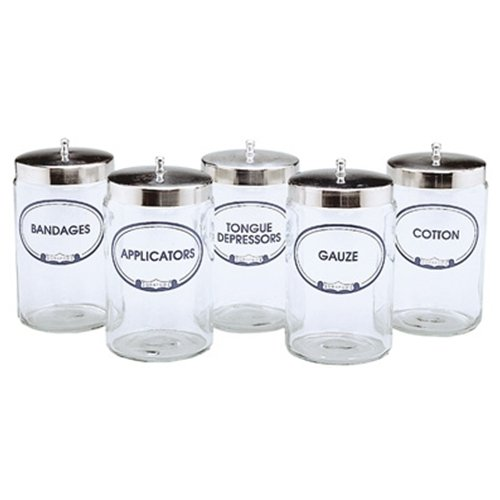 Glass Sundry Jars with Lids (Set of 5 Flint Glass Jars with Covers) from Graham and Field