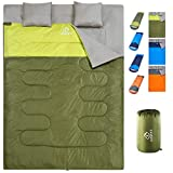 oaskys Double Sleeping Bag - 3 Season Warm & Cool Weather - Summer, Spring, Fall, Lightweight, Waterproof for 2 Person - Camping Gear Equipment, Traveling, and Outdoors (Green, Double)