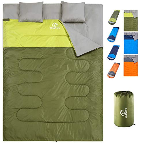 oaskys Camping Sleeping Bag – 3 Season Warm & Cool Weather – Summer, Spring, Fall, Lightweight, Waterproof for Adults & Kids – Camping Gear Equipment, Traveling, and Outdoors (Double Green)