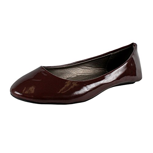 West Blvd Womens Ballet Flats Slip On Shoes Ballerina Slippers  Brown Patent  Us 8