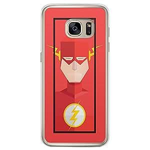 Loud Universe Samsung Galaxy S7 Edge Super Heroes Flash Triangular Printed Transparent Edge Case - Pink