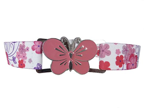 Elastischer Gürtel für Mädchen 1-11 Jahre, voll einstellbar mit große Schnalle - Blume Rosa / Schmetterling Rosa