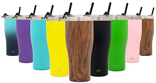 Simple Modern 32oz Cruiser Tumbler with Straw & Closing Lid Travel Mug - Gift Double Wall Vacuum Insulated - 18/8 Stainless Steel Water Bottle Pattern: Wood Grain