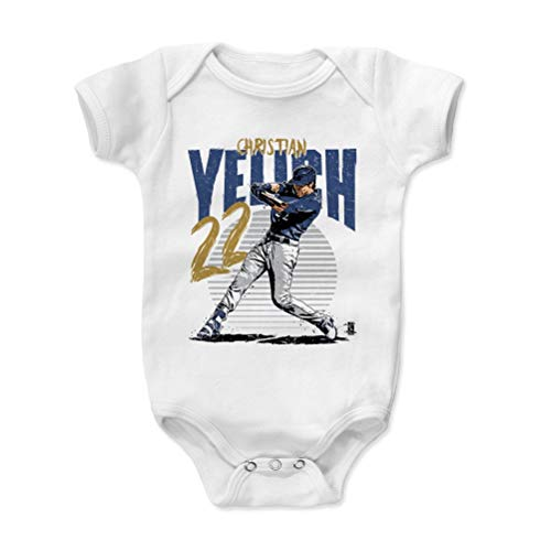500 LEVEL Milwaukee Baseball Baby Clothes, Onesie, Creeper, Bodysuit - 3-6 Months White - Christian Yelich Rise B (Brewers Baseball Milwaukee White)