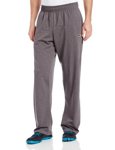 Champion Men's Open Bottom Light Weight Jersey Sweatpant, Granite Heather, X-Large