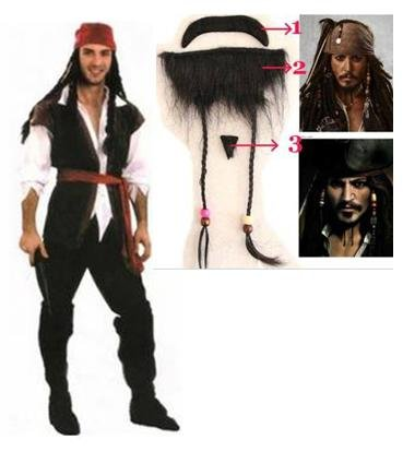Set of 7 Jack Sparrow-style Halloween Costume Party wedding after-party entertainment production size pirate costume Pirates beard with luxury: X-Large