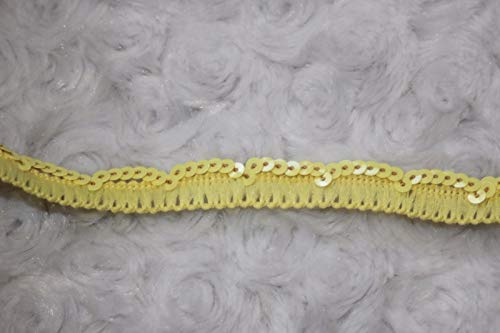 (2 Yards $1 Yellow Poly gimp Trim Mini Sequins Sewing Craft Trim 1/2'' Wide g)