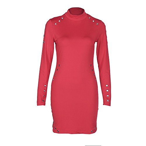 igh-Necked Long Sleeve Package Hip Slim Dress(Large,Red) ()