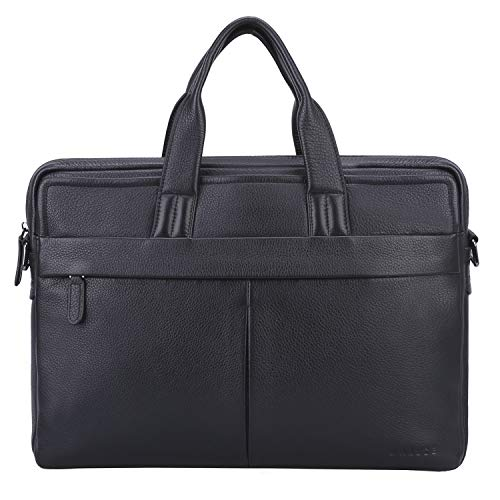 (Banuce Soft Genuine Leather Briefcase for Men Black Executive 13 inch Laptop Bag Business Attache Case Tote Handbag Shoulder Messenger Bag)