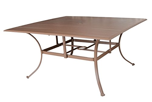 Panama Jack Outdoor PJO-1001-ESP-60 Island Breeze Slatted Aluminum Square Dining Table with Umbrella Hole, 29″ x 60″ x 60″ Espresso