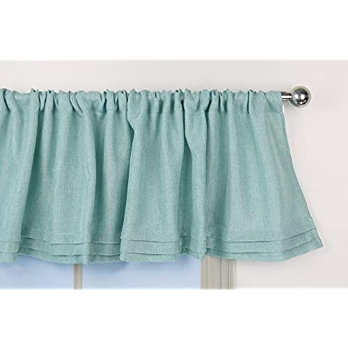 Aiking Home Solid Faux Linen Pleated Valance 56 By 14 Inches Aqua