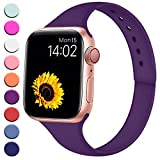 R-fun Slim Bands Compatible with Apple Watch Band 40mm Series 4 38mm Series 3/2/1, Soft Silicone Sport Strap Wristband for Women Men Kids with iWatch, Purple