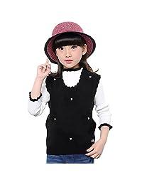 MMX Girls Knit Vest Flower Crochet Pullovers Sweaters