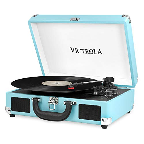 it.innovative technology Victrola Vintage 3-Speed Bluetooth Suitcase Turntable with Speakers, Turquoise (Renewed)