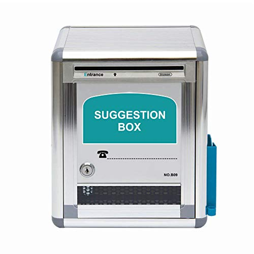 Glosen Suggestion Box with Lock Wall Mounted, Mailbox, Donation Box, Drop Box with Pen Holder and Notepaper Box for Small Office, Customer Center, School, Hospital, Hotel, Small Size, Silver