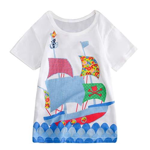 Luonita Toddler Kids Colorful Cartoon Animal Print Short Sleeve Halloween Outfi Tops T-Shirt White