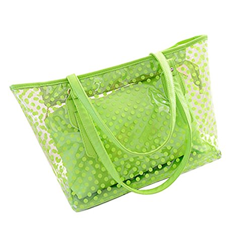 Lady Clear Large Multi-Color Jelly Plastic Work Tote Shoulder Handbag Green