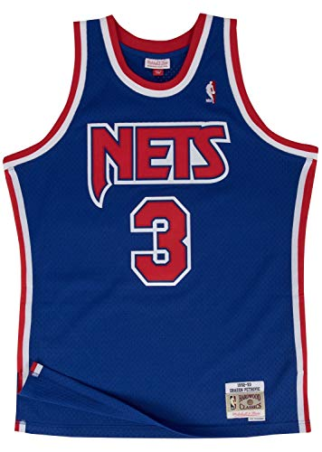 (Drazen Petrovic New Jersey Nets Mitchell and Ness Men's Blue Throwback Jesey Medium)