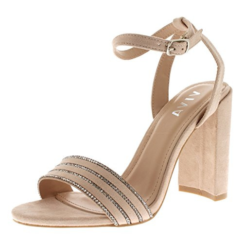 Viva Womens High Heel Ankle Strap Diamante Detailed Suede Sandal Wedding Party Shoes - Nude KL0304Q (High Heel Formal Shoes)
