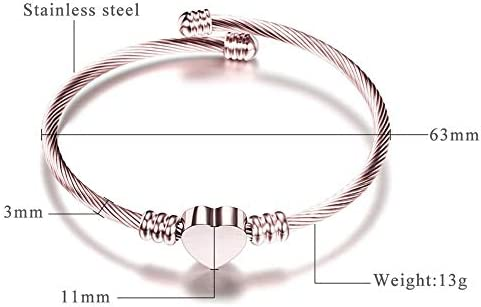 Stainless Steel Cable Wire Heart Charm Bangle Bracelet Anniversary Statement Promise Occasions