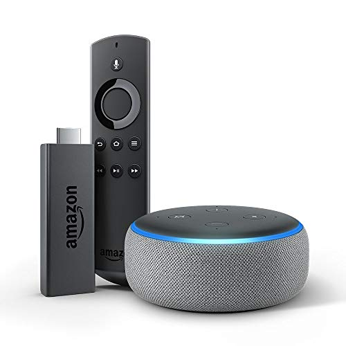 Echo Dot (3rd Gen) bundle with Fire TV Stick - Heather Gray