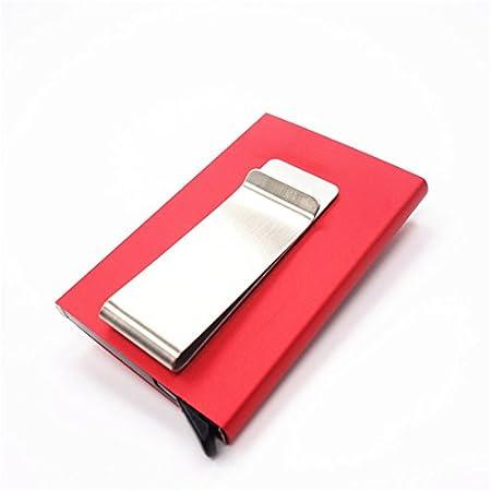 SODIAL neutro Lega di alluminio Metallo ID della carta Titolare Fermasoldi anti-smagnetizzazione RFID Puo' contenere 6 carte con portafoglio - grigio