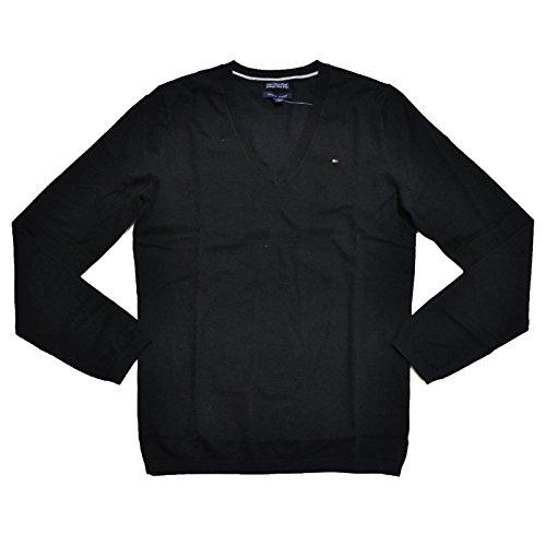 - Tommy Hilfiger Women Pima Cotton Solid V-Neck Logo Sweater (Medium, Black) (Medium, Black)