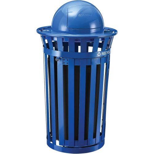 Global Industrial Outdoor Steel Recycling Receptacle w/Access Door & Dome Lid - 36 Gallon Blue