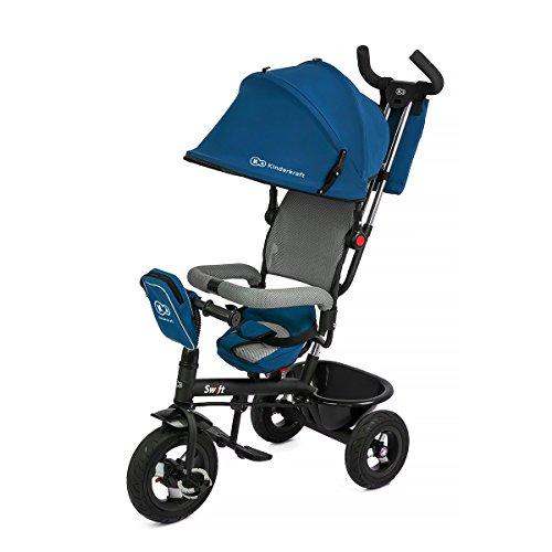 kinderkaft Swift 6en 1Tricycle pour enfants avec accessoires dans 2couleurs bleu