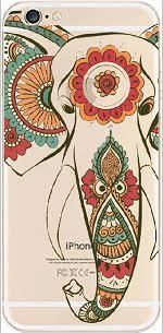 iPhone 6 / 6S, Protective Flexible Rubber Silicone Transparent Clear Plastic Case Cover - Aztec Indian - Mouse Sleigh