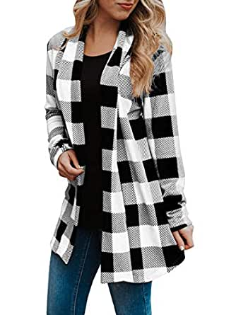 OHDREAM Womens Buffalo Plaid Shirt Plus Size Cardigan with Pockets Jackets Long Sleeve Open Front Elbow Patch Coat White