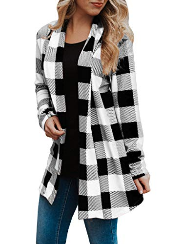 Womens Buffalo Plaid Cardigans Long Sleeve Elbow Patch Draped Open Front Cardigan Shirt White Draped Open Back Cocktail