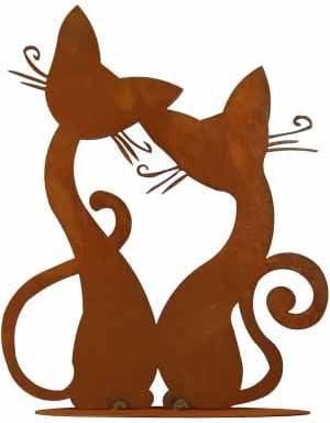 Rost Tier Katze Paar P/ärchen Deko Dekoration Edelrost Garten Metall Eisen