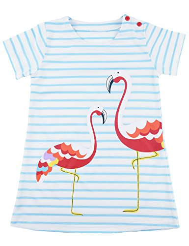Baby Girls Short Sleeve Easter Cotton Flamingos Cartoon Strip Shirt Summer Casual Party Dress For (Personalized Toddler Dress)