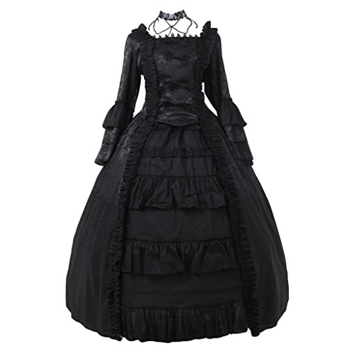 CosplayDiy Women's Medieval Ball Gown Black Lace Dress Costume XL