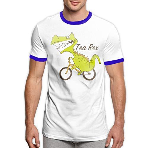 MiiyarHome Men's Ringer T-Shirt Dinosaurs, Men Short Sleeves Jersey Causal Tee Blue - T-shirt Ringer Dinosaur