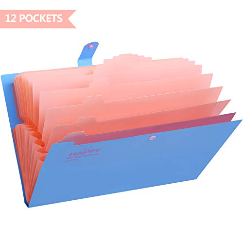 (Skydue Expanding File Folders 12 Pockets Accordion File Folder A4 and Letter Size Paper Document Organizer Folders for School Office (Blue))