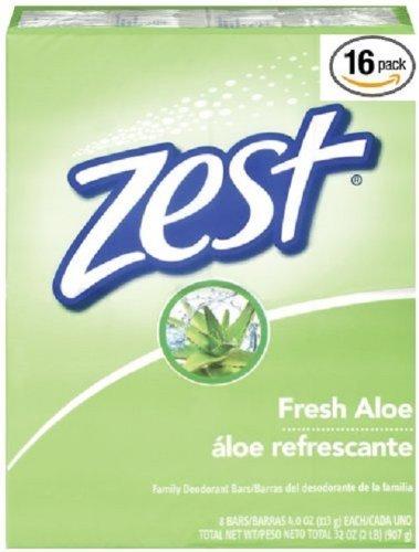 Zest Bar Soap, Fresh Aloe, 4 Oz, 16 Bars Pack