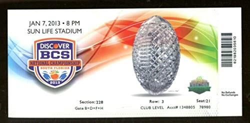 2013 BCS National Championship Game Full Ticket Alabama v Notre Dame NMT - Tickets Game National Championship