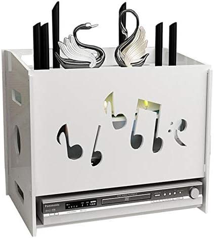 Xyanzi-DVDラック WiFiルーターボックステレビセットトップボックスフローティングフレーム収納ラック壁掛け3フロア、白 機能的な収納棚 (色 : C)