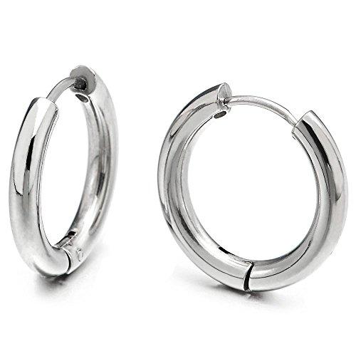 Pair Stainless Steel Plain Circle Huggie Hinged Hoop Earrings for Men Women