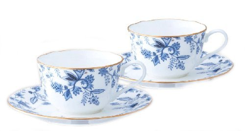 Bone china blue Sorrentino tea and coffee porcelain bowl plate pair set P59387A/4562 (japan import)