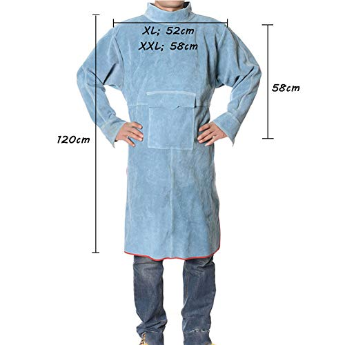 LAIABOR Welders Apron Heavy Duty Tools Shop Work Apron Leather, Flame Resistant Welding Jacket with Cowhide Leather and Adjustable Size Protective Foot,Blue,XXL by LAIABOR (Image #6)