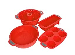 Bakeware Silicone Set, Gela Cake Molds For Baking, The Ideal Choice For Cakes, Muffins, Cupcakes, Bundt Cakes And More - 4 Piece Cookware Set Of Red Pans