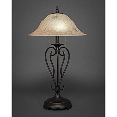 Toltec Lighting Olde Iron Dark Granite Two-Light Table Lamp with Italian Marble Glass