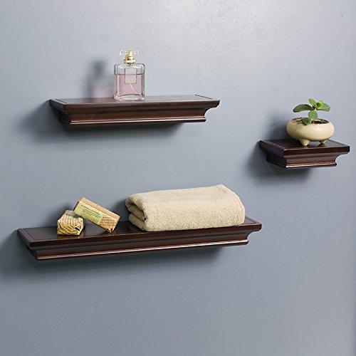 LightStan Contemporary Floating Wall Shelves Espresso Brown Finish Decorative Ledge Set of 3 pcs - Decorative Wall Shelf Unit