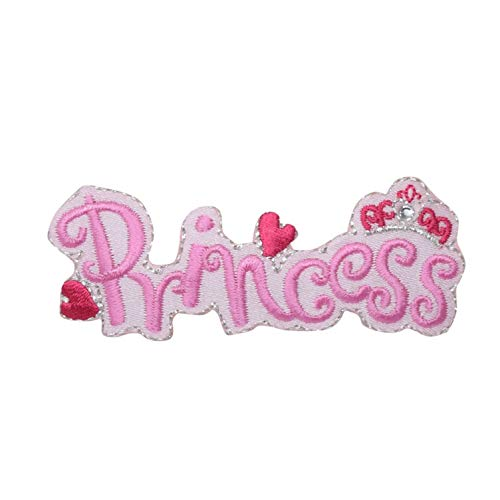 Pink Princess with Hearts and Crown Iron On Embroidered Patch