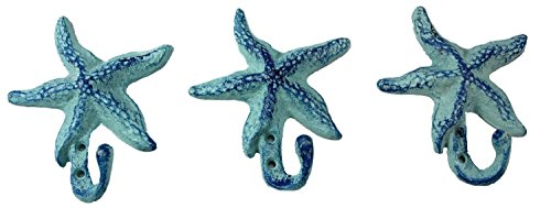 Starfish Cast Iron Wall Hooks Antique Blue - Set of 3 for Coats, Aprons, Hats, Towels, Pot Holders, More (Beach Hand Towel Hooks)